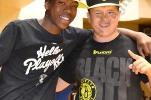 Jarrett Brown and Thomas Miceli, Nets Kids Dance Team members from 2012-13. - Brooklyn Archive