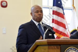 Borough President Eric Adams gave an impassioned speech on the importance of Martin Luther King Day. - Brooklyn Archive