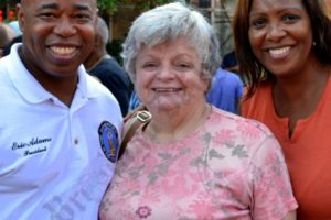 Brooklyn Borough President Eric Adams and Public Advocate Letitia James with Brooklynite Bridget Donnellan. - Brooklyn Archive