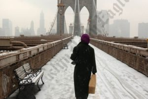 Brooklyn Bridge Pedestrian Walkway in the Snow 01/05/2003 - Brooklyn Archive