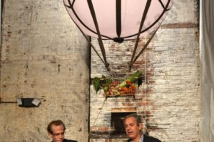 """Dan Barber, chef and author of """"The Third Plate,"""" and Sam Fromartz, FERN's editor-in-chief, closed the evening with a discussion about grains and the importance of bringing them back to the farm and table. - Brooklyn Archive"""