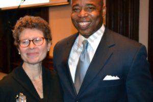 Deborah F. Schwartz, President of the Brooklyn Historical Society, and Borough President Eric Adams. - Brooklyn Archive