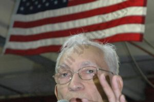 Retired Brooklyn Supreme Court Justice Lewis Douglass speaks ringside at Gleason's Gym last week, after reciving the Alask Project's public service award. - Brooklyn Archive