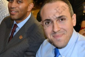 U.S. Representative Hakeem Jeffries and Councilmember Mark Treyger showed up in support of Ken Thompson at the D.A.'s town hall meeting in Coney Island Thursday. - Brooklyn Archive