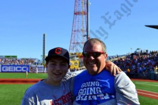Barton Murray and his dad Bart Murray are from New Hampshire and planned their summer vacation around Seinfeld Night. - Brooklyn Archive