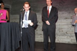 Honoree Martin Dunn receiving award (Jeff Nemetsky speaking). - Brooklyn Archive
