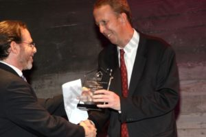 Honoree Martin Dunn receiving award from Jeff Nemetsky. - Brooklyn Archive