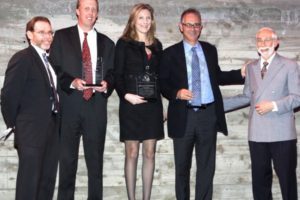 Jeff Nemesky, Honorees Martin Dunn, Elizabeth DiMichele, and Ron Moelis, with Ben Baxt. - Brooklyn Archive