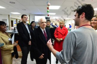 NY Assemblymember Joe Lentol, Councilmember Laurie Cumbo, and ED Clinical Chair Dr. Sylvie De Souza take a tour of the ER. - Brooklyn Archive