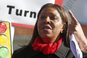 NYC Public Advocate Letitia James addresses the crowd on Ocean Parkway. - Brooklyn Archive